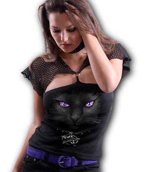 Imagine Top BLACK CAT – Mesh Ring Cap Sleeve Top Black